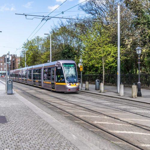Luas tram stop outside The Green hotel Dublin