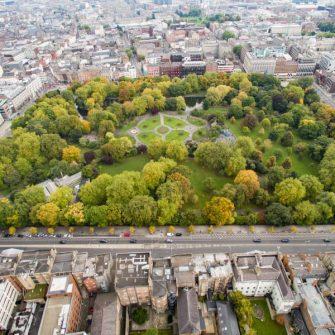 St Stephen's Green Park in Dublin aerial view