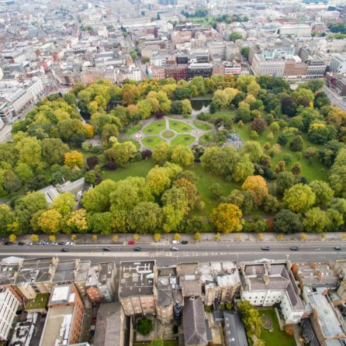 St Stephen's Green Park in Dublin aerial view